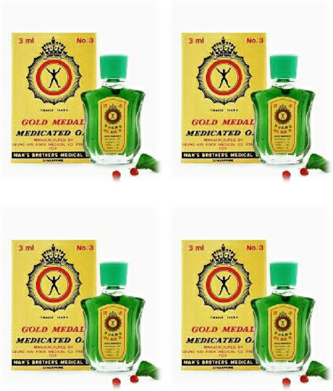 Axe Brand Gold Medal Medicated Oil 3ml {Pack of 4} (Imported from Singapore) Rheumatic pains/Blocked noses /Stomach-aches. Liquid(3 ml)