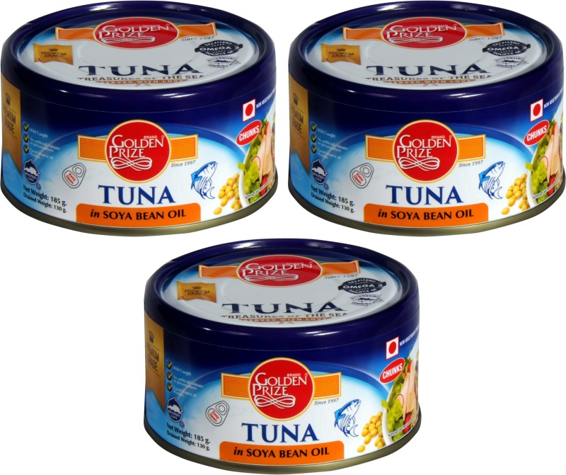 Golden Prize Tuna Chunk In Soyabean Oil 185 Gms Each - Pack of 3 Units Sea Foods(185 g, Pack of 3)