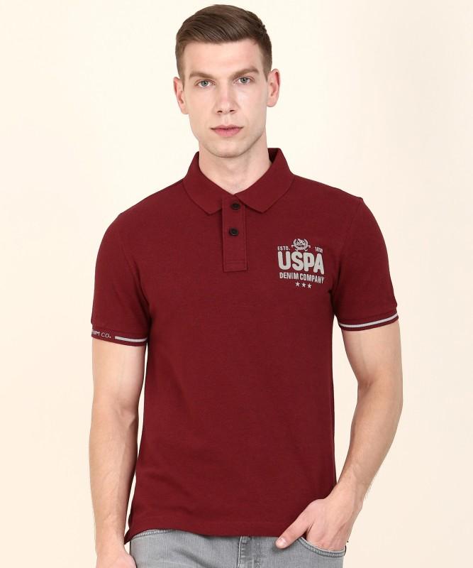 U.S. Polo Assn Solid Men Polo Neck Maroon T-Shirt