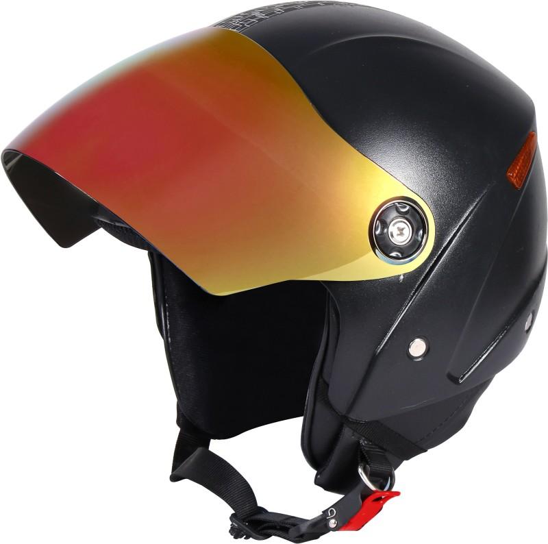JMD GRAND Premium Open Face Helmet With Mirror Visor (Black, Large) Motorbike Helmet(Black)