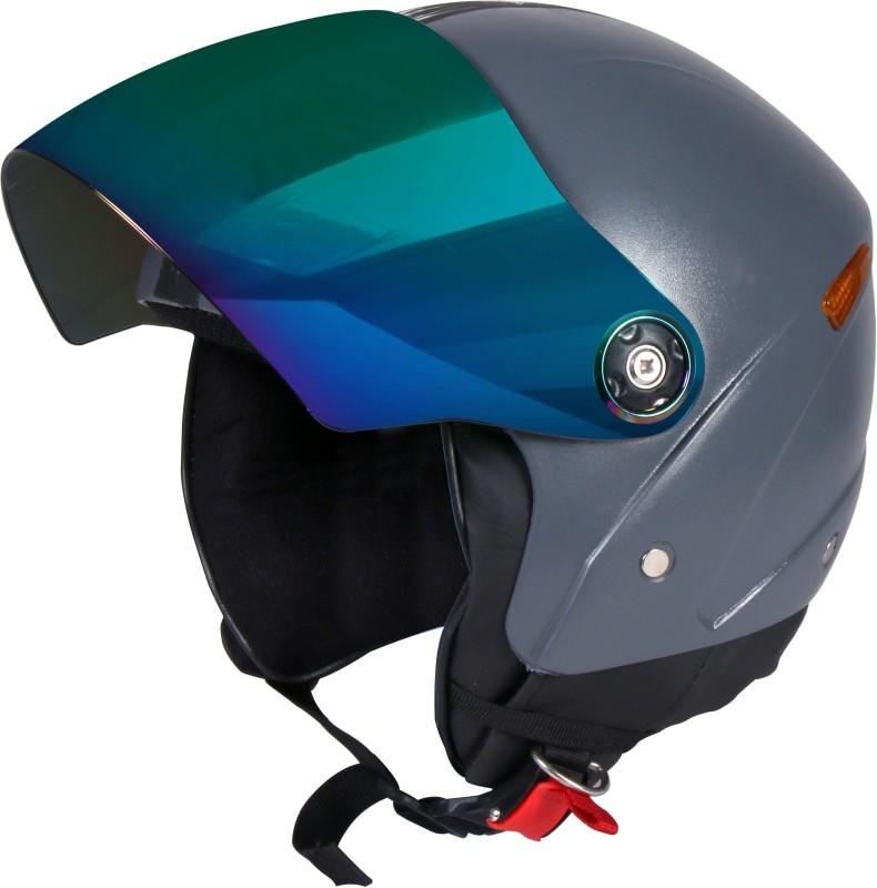 JMD GRAND Premium Open Face Helmet With Mirror Visor (Grey, Large) Motorbike Helmet(Grey)
