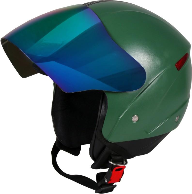 JMD GRAND Premium Open Face Helmet With Mirror Visor (Military Green, Large) Motorbike Helmet(Military Green)