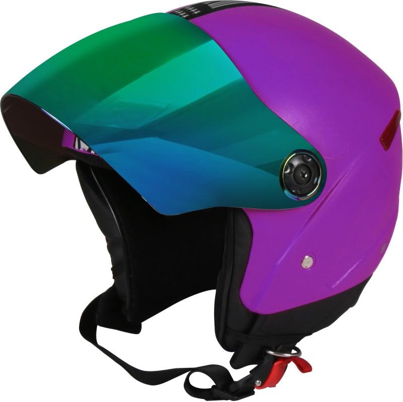 JMD GRAND Premium Open Face Helmet With Mirror Visor (Purple,Large) Motorbike Helmet(Purple)