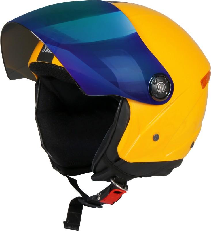 JMD GRAND Premium Open Face Helmet With Mirror Visor (Yellow, Large) Motorbike Helmet(Yellow)