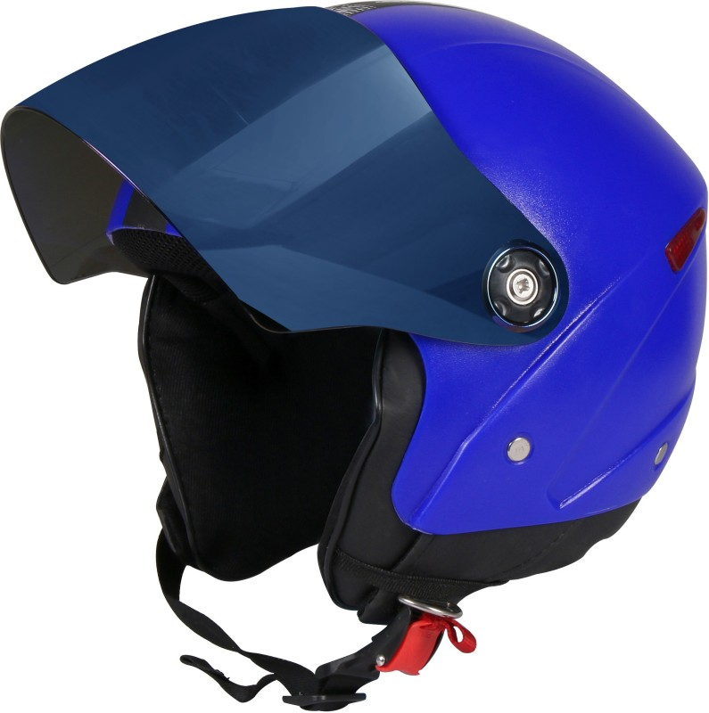 JMD GRAND Premium Open Face Helmet With Mirror Visor (Blue, Large) Motorbike Helmet(Blue)