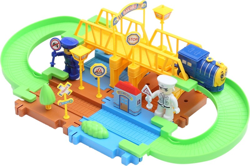 Miss & Chief Batterty operated Block Train Track set 25pcs(Multicolor)