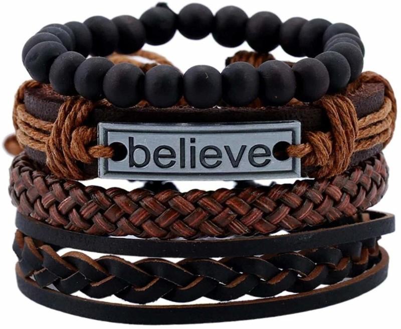 University Trendz Leather Bracelet Set(Pack of 4)