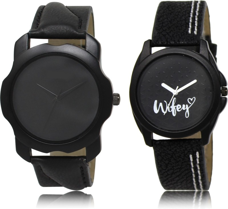 FASHION POOL BLACK & BLACK WIFEY DESIGNER WATCH FOR COUPLE METAL & LEATHER BELT NEW ARRIVAL FAST SELLING TRACK DESIGNER WATCH FOR FESTIVAL_PARTY_PROFESSIONAL_VALENTINE_BIRTHDAY GIFT SPECIAL COMBO WATCH FOR MEN_WOMEN Analog Watch - For Couple