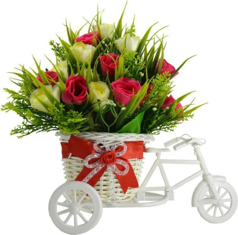 kuku Romantic Cycle Gifts with Flower for Wife, Girlfriend, fiance On Valentine's Day, Karwa Chauth and any special Occasion, Plastic Flower Cycle Basket with Artificial Flower pink, Yellow, Green Rose Artificial Flower with Pot Multicolor Rose Artificial Flower(10 inch, Pack of 1)