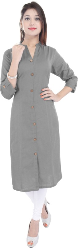 FEBIA Women Solid A-line Kurta(Grey)