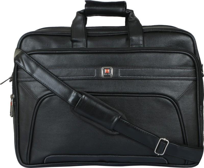 Pulse 15.6 inch Expandable Laptop Messenger Bag(Black)