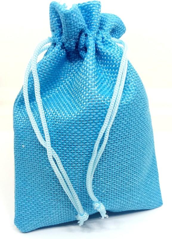 Aadya Crafts Jute Pouch Potli(Blue)