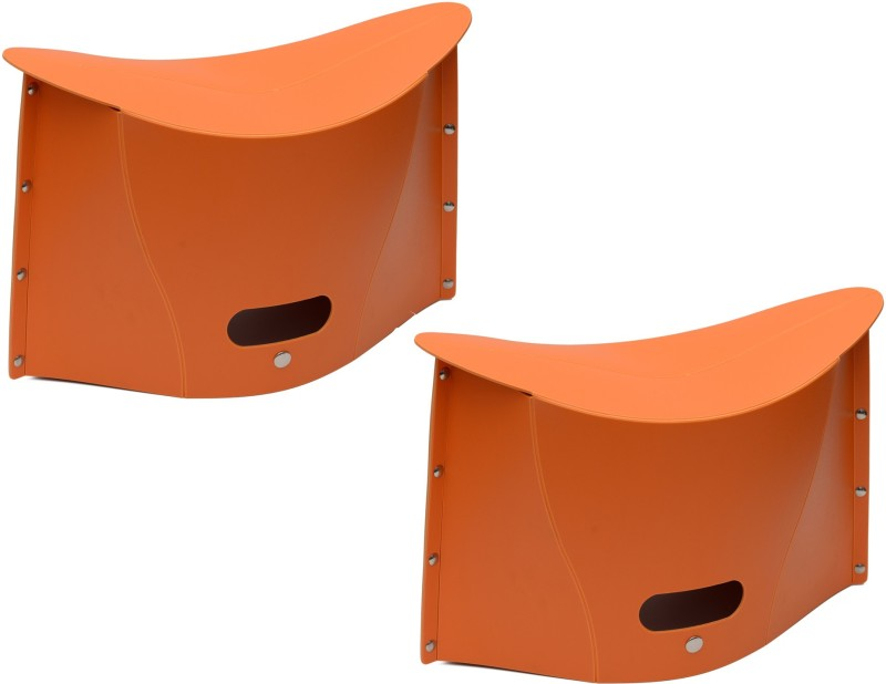 Lifestyle-You Sturdy Compact Folding Stool Chair Outdoor Picnic Fishing. (Pack of 2) Stool(Orange)