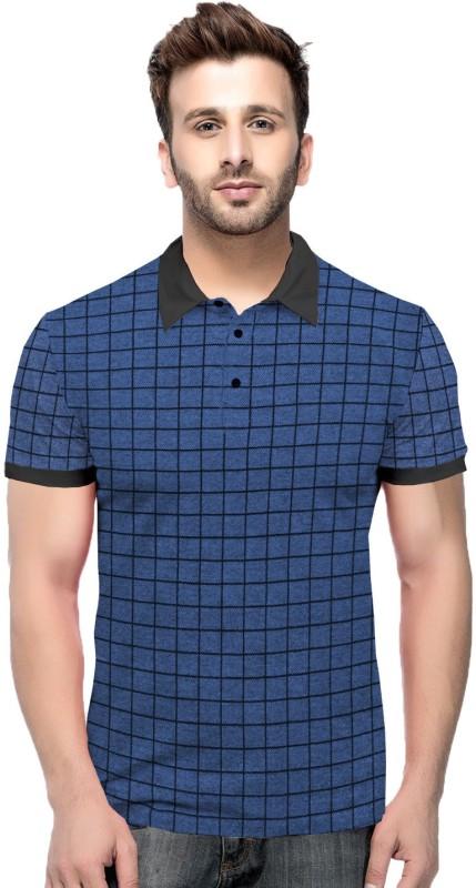 Tripr Checkered Men Polo Neck Blue, Black T-Shirt