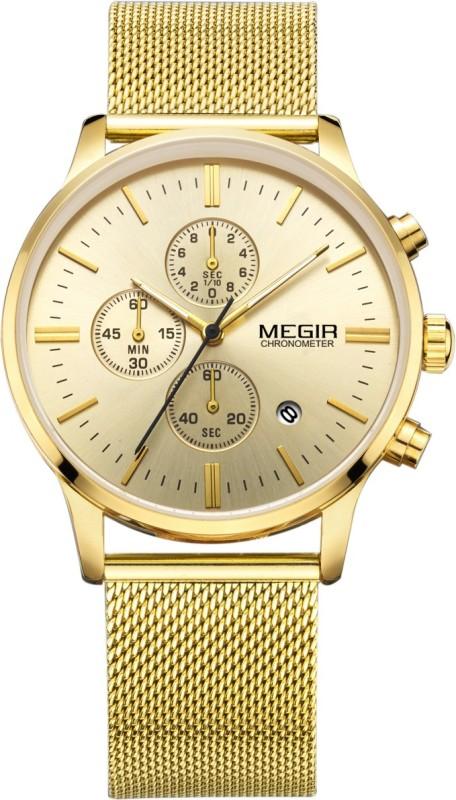Megir MS2011 Gold Luxury Original Brand Chronograph Men's Quartz Stainless Steel Mesh Band Slim Multi-Function Sports Analog Watch - For Men