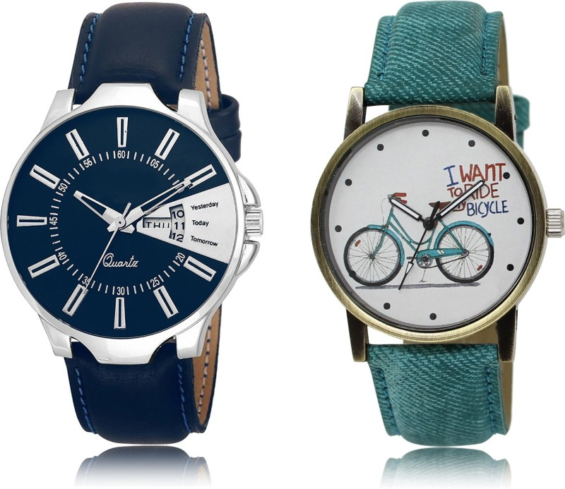"FASHION POOL FAST SELLING ROUND ANALOGUE DIAL ""BLUE_WHITE & BLUE COUPLE COMBO WATCH METAL & LEATHER BELT NEW ARRIVAL FAST SELLING TRACK DESIGNER WATCH FOR FESTIVAL_PARTY_PROFESSIONAL_VALENTINE_BIRTHDAY GIFT SPECIAL COMBO WATCH FOR MEN_WOMEN Analog Watch - For Couple"