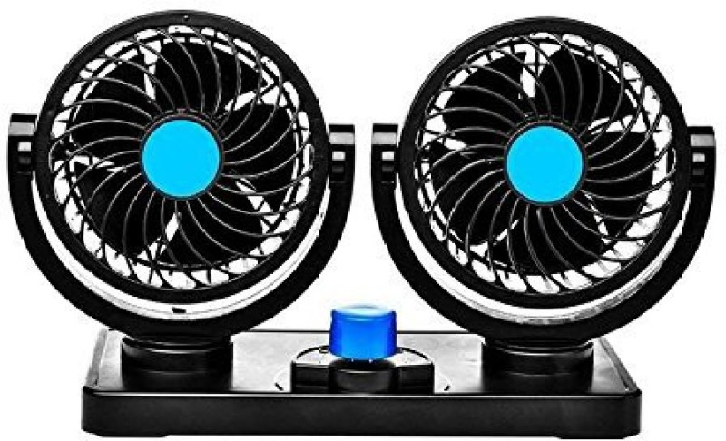 PRTEK Car fan 12V Electric Auto Cooling Fan, Low Noise 360 Degree Rotatable with 2 Speed Dual Heads Dashboard Powerful Summer Air Circulator for Sedan Vehicle Truck RV SUV Boat Car fan 12V Electric Auto Cooling Fan, Low Noise 360 Degree Rotatable with 2 Speed Dual Heads Dashboard Powerful Summer Air