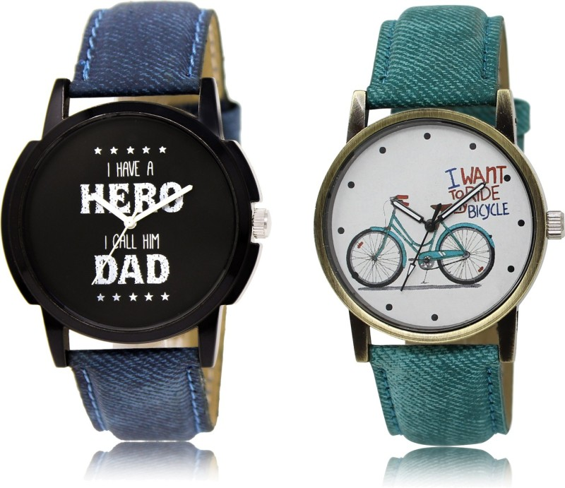 FASHION POOL HERO DAD SPECIAL COUPLE COMBO WATCH WITH CYCLE DESIGNER DENIM BELT WATCH FOR BOYS_GIRLS METAL & LEATHER BELT NEW ARRIVAL FAST SELLING TRACK DESIGNER WATCH FOR FESTIVAL_PARTY_PROFESSIONAL_VALENTINE_BIRTHDAY GIFT SPECIAL COMBO WATCH FOR MEN_WOMEN Analog Watch - For Men