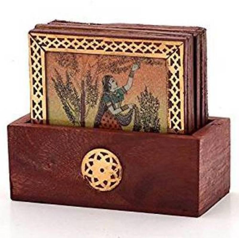 Fashion Bizz Rectangle Wood Coaster Set(Pack of 6)