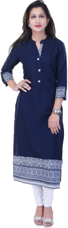 Style N Shades Women Printed Straight Kurta(White, Blue)