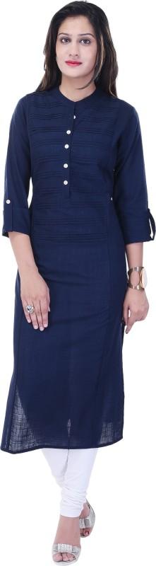 Style N Shades Women Solid Straight Kurta(Blue)