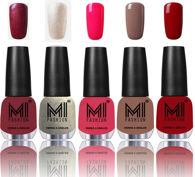 MI Fashion Bold and Beautiful Combo of 5 Extra Shine Power Lasting Nail Polish Metallic Red-Gold ,Ginger Rust ,Neon Pink ,Dark Nude ,Daring Red(Pack of 5)