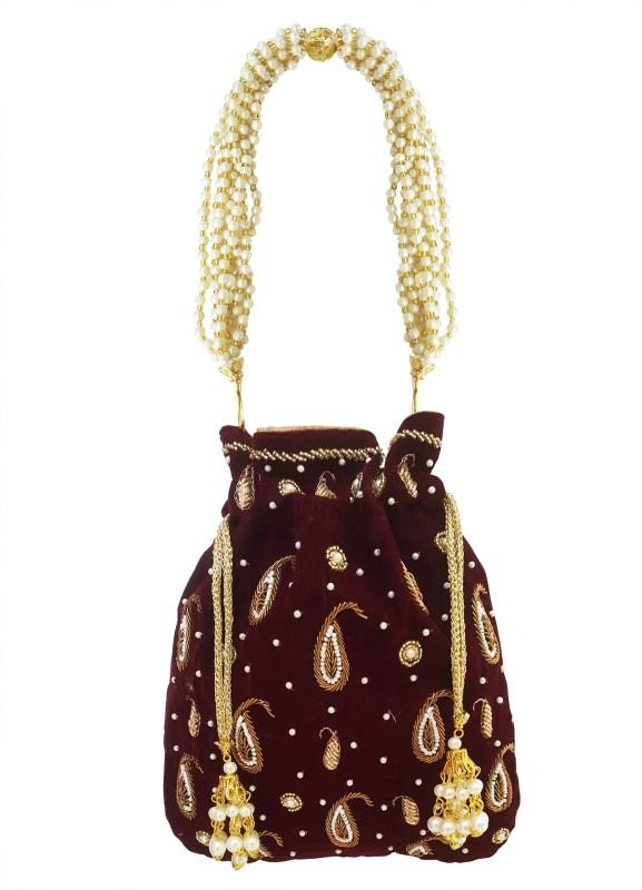 Mehrunnisa Maroon Hand Embroidered Zari & Pearl Velvet Potli Bag Potli(Maroon)