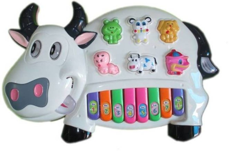 Deep Lights & Music Baby Cow Educational Interactive Piano(White)