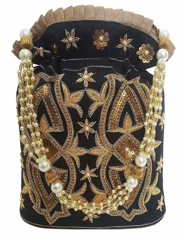 Mehrunnisa Black Hand Embroidered Zari Potli Bag Potli(Black)