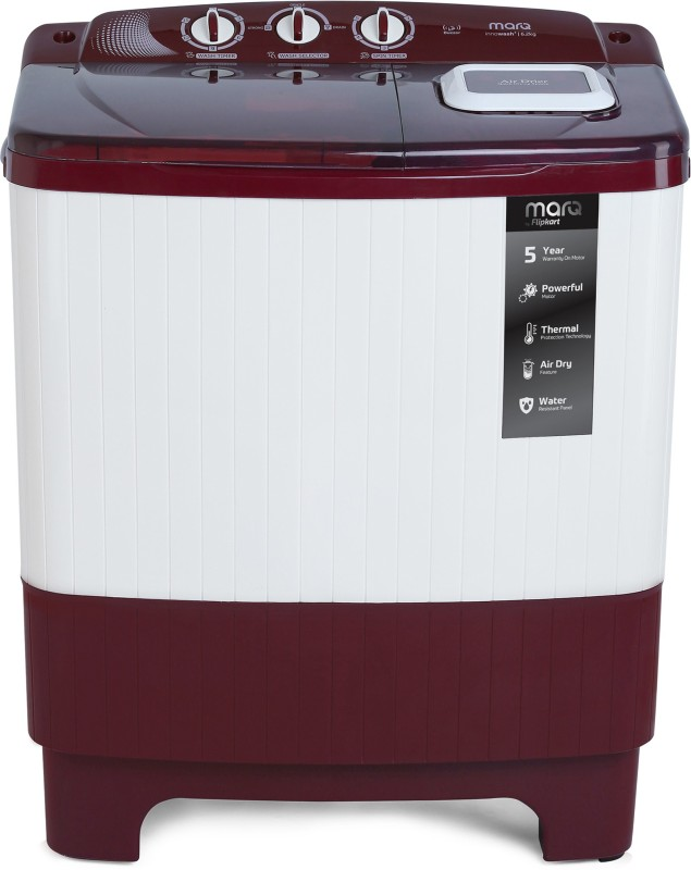 MarQ by Flipkart 6.2 kg Semi Automatic Top Load Washing Machine Maroon, White(MQSADW62A)