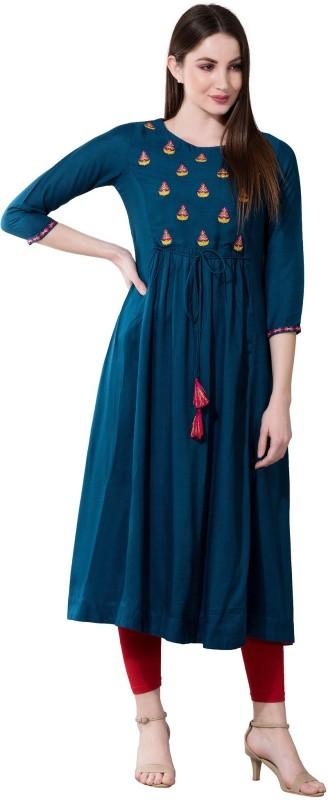 Janakdulari Creation Women Embroidered Flared Kurta(Dark Blue)