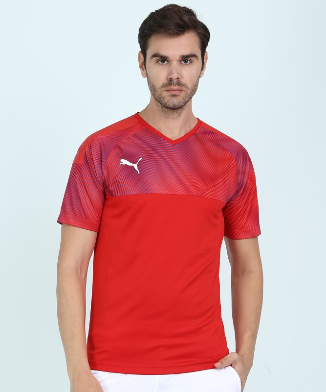 Puma Printed Men V-neck Red T-Shirt