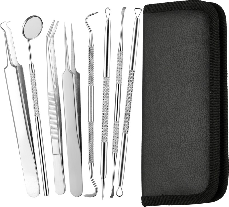 Foolzy 8 Pieces Blackhead Remover Tweezer Kit & Dental Tools, Blackhead Tools for Comedone Extractor Whitehead Acne Blemish Pimple Remover, Dental Pick, Tartar Plaque Remover, Dental Set for Oral Care Dental Elevator