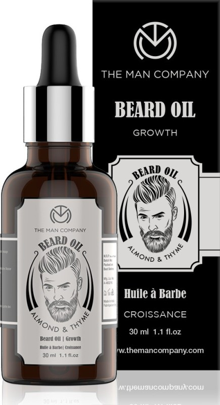 The Man Company 100% Natural Beard Growth Oil - (Almond and Thyme) Hair Oil(30 ml)
