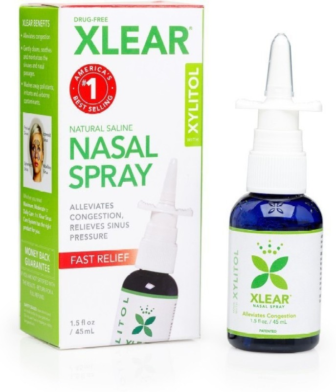 xlear Xylitol and Saline Nasal Spray - 1.5fl oz Metered Dose Manual Nasal Aspirator(Transparent)