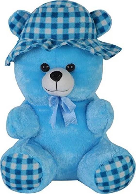 emutz Teddy Bear Colors Sky Blue Huggable Teddy Bear with Neck Bow with Cap Size 12 Inch teddy bear  - 2 inch(Blue)