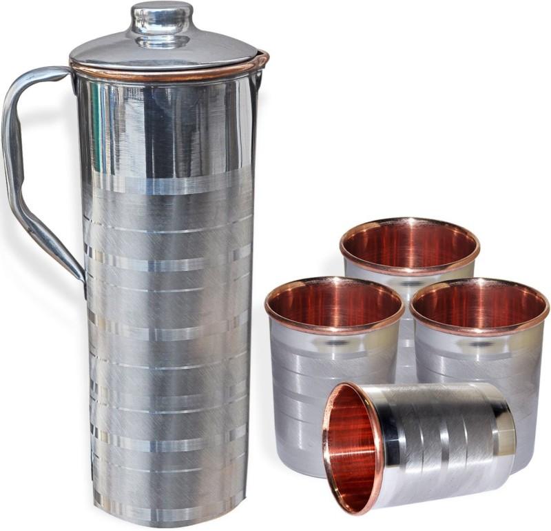 Asia Craft JUG003-TUMBLER001-4 Jug Glass Set(Stainless Steel, Copper)