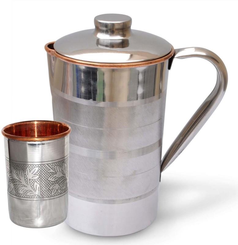 Asia Craft JUG002-TUMBLER007-1 Jug Glass Set(Silver, Copper)