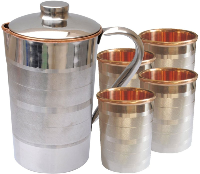 Asia Craft JUG002-TUMBLER001-4 Jug Glass Set(Stainless Steel)