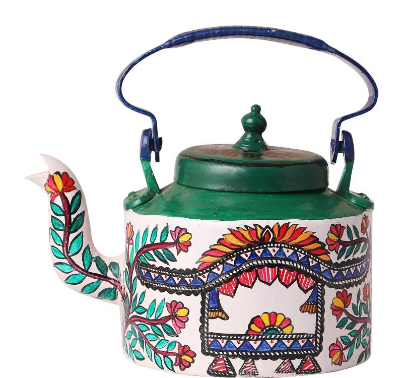 iMithila Madhubani Folk Art Designer Handpainted Tea/Coffee Kettle in Mithila Style with Beautiful Doli Kettle Jug(2.25 L)