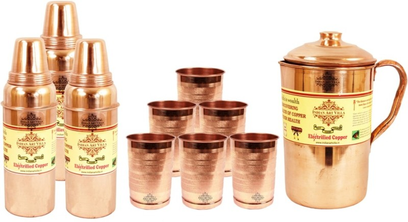 IndianArtVilla Set of 1 Copper Jug Pitcher with 6 Copper Glass Tumbler & 3 Copper Water Bottle - Home Hotel Restaurant Tableware Water Jug(5.5 L, Pack of 10)