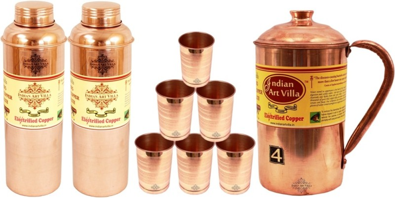 Indian art villa Copper Plain Jug no.4 with 6 Copper Glass with 2 Bisleri Bottle no.1 Water Jug Set(4.5 L, Pack of 9)