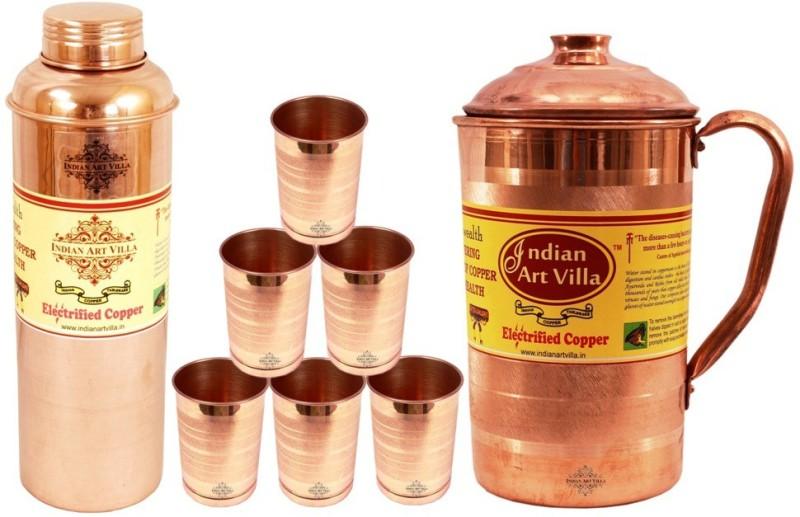 IndianArtVilla Copper Set of 1 Jug Pitcher with 6 Glass Tumbler & 1 Bisleri Design Water Bottle Water Jug(3.9 L, Pack of 8)