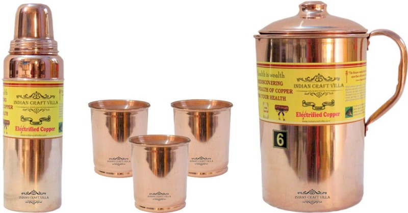 Indian Craft Villa Handmade Copper 1 Jug Pitcher Capacity 2.1 Liter 3 Glass Cup Goblet With Lid Capacity 300 ML 1 Water Bottle Capacity 700 ML for Storage Water Good Health Benefits Yoga, Ayurveda Home Decorate Kitchen Dinning Ware Travel Bottle Gift Item Combo Set Water Jug Set(3.7 L, Pack of 5)