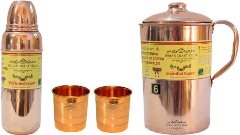 Indian Craft Villa Handmade Best Quality 100% Pure Copper 1 Jug Pitcher Capacity 2.1 Liter 2 Glass Cup Goblet Capacity 300 ML 1 Water Bottle Capacity 700 ML for Storage Water Good Health Benefits Yoga, Ayurveda Home Decorate Kitchen Dinning Ware Travel Bottle Gift Item Combo Set Water Jug Set(3.4 L,