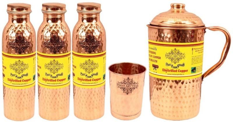 IndianArtVilla Set of 1 Jug with 3 Bottle & 1 Glass Water Jug Set(3.45 L, Pack of 5)
