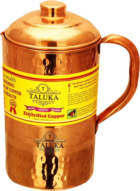 "Taluka (4.2"" x 8.8"" Inches ) Pure Hand Made Best Quality Copper Jug Hammered Jug For Water Drinking 100% Pure Copper Jug Pitcher Capacity 1500 ml Water Storage Serving Drinking Water 