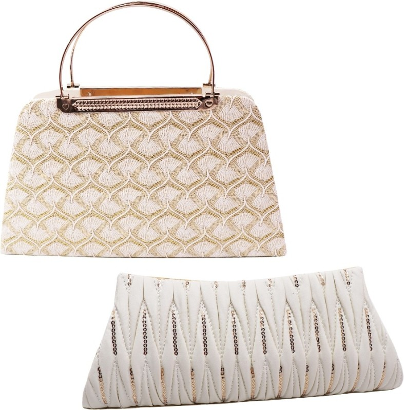 landloper Sports, Party, Formal, Casual White, Beige Clutch