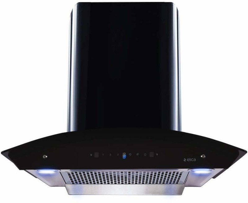 Elica WDFL HAC TOUCH 60 MS with Installation Kit Included Auto Clean Wall Mounted Chimney(Black 1200 CMH)