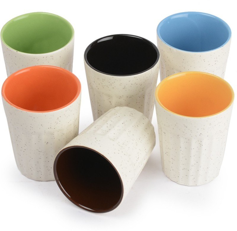 Style My Way White Matt Cutting Chai Glasses In Ceramic-Set Of 6 | Tea Glasses | Chai Kullad | Kullad Tea Cups Ceramic(White, Pack of 6)